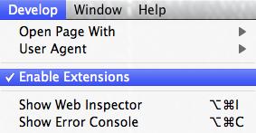 Safari Enable Extensions