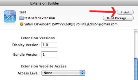 Safari Install Extension Button